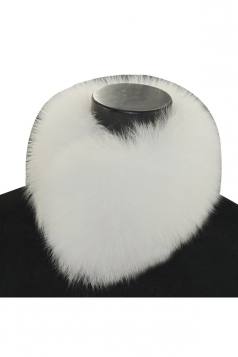 Womens Warm Winter Scarf Plain Faux Fur Collar White
