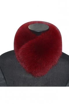 Womens Warm Winter Scarf Plain Faux Fur Collar Ruby