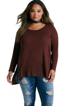 Womens Crew Neck Long Sleeve Side Slit Plain Plus Size Top Dark Red