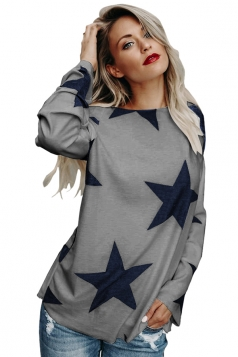 Womens Sexy Long Sleeve Star Printed One Shoulder Top Gray