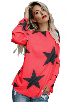Womens Sexy Long Sleeve Star Printed One Shoulder Top Watermelon Red