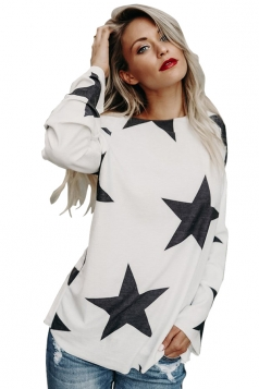 Womens Sexy Long Sleeve Star Printed One Shoulder Top White