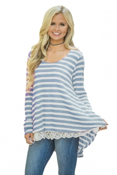 Womens Oversized Crew Neck Striped Lace Asymmetrical Hem T-Shirt Blue