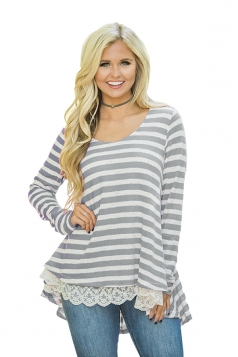 Womens Oversized Crew Neck Striped Lace Asymmetrical Hem T-Shirt Gray