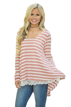Womens Oversized Crew Neck Striped Lace Asymmetrical Hem T-Shirt Pink