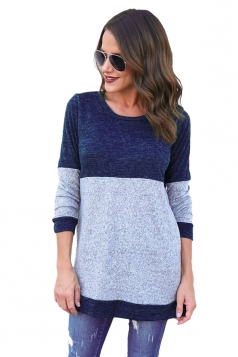 Womens Casual Contrast Color Long Sleeve Crew Neck T-Shirt Blue