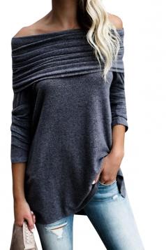 Womens Sexy Bandage Long Sleeve Plain Off Shoulder Top Gray