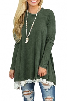 Womens Oversized Long Sleeve Crew Neck Lace Plus Size Top Army Green