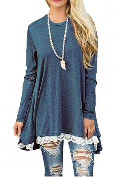 Womens Oversized Long Sleeve Crew Neck Lace Hem Plus Size Top Blue