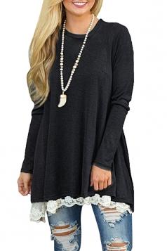 Womens Oversized Long Sleeve Crew Neck Lace Hem Plus Size Top Black