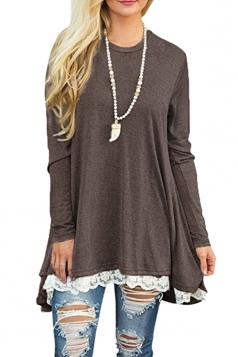 Womens Oversized Long Sleeve Crew Neck Lace Hem Plus Size Top Coffee