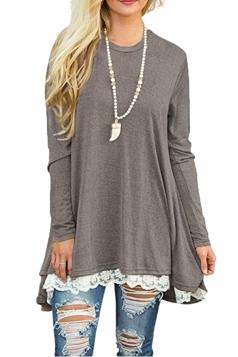 Womens Oversized Long Sleeve Crew Neck Lace Hem Plus Size Top Gray