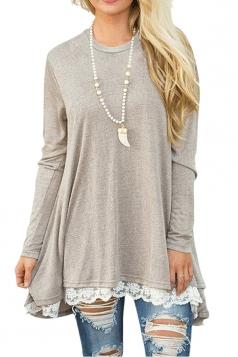 Womens Oversized Long Sleeve Crew Neck Lace Hem Plus Size Top Khaki