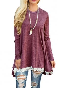 Womens Oversized Long Sleeve Crew Neck Lace Hem Plus Size Top Ruby