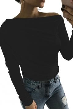 Womens Close-Fitting Long Sleeve Plain Off Shoulder Top Black