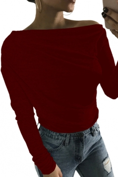 Womens Close-Fitting Long Sleeve Plain Off Shoulder Top Ruby