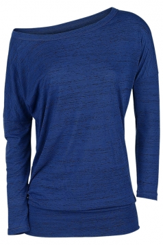 Womens Sexy Close-Fitting Long Sleeve Plain One Shoulder Top Blue