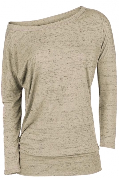 Womens Sexy Close-Fitting Long Sleeve Plain One Shoulder Top Khaki