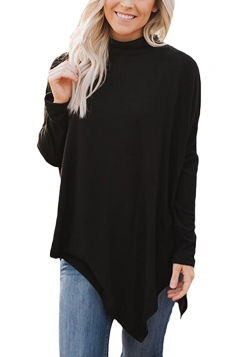 Womens Plus Size Oversized Asymmetric Hem High Collar Plain Top Black