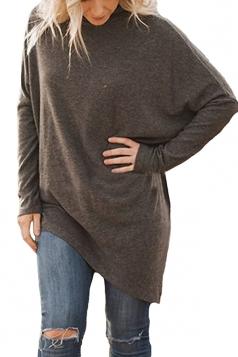 Womens Plus Size Oversized Asymmetric Hem High Collar Plain Top Brown
