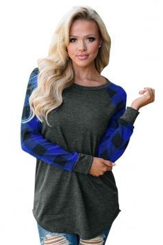 Womens Crew Neck Raglan Sleeve Plaid Pattern T-Shirt Blue