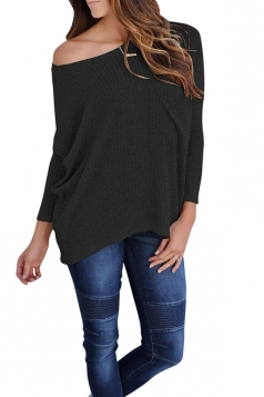 Womens One Shoulder Long Sleeve Oversized Ribbed Knit Sweater Black