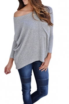 Womens One Shoulder Long Sleeve Oversized Ribbed Knit Sweater Gray