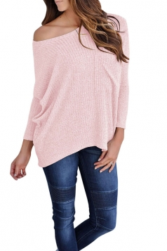 Womens One Shoulder Long Sleeve Oversized Ribbed Knit Sweater Pink