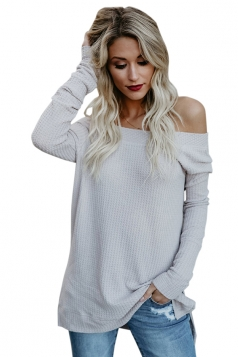 Womens Long Sleeve Off Shoulder Slit Ribbed Knit Plain Sweater White
