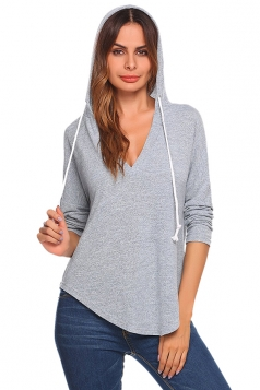 Womens V-Neck Drawstring Long Sleeve Pullover Light Plain Hoodie Gray