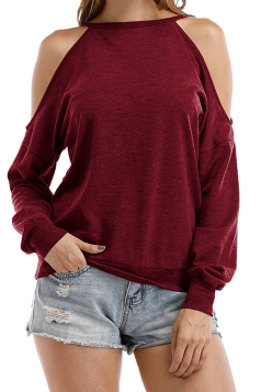 Womens Halter Cold Shoulder Long Sleeve Loose Plain T-Shirt Ruby