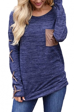 Womens Round Neck Cross Lace Up Long Sleeve Pocket Plain T-Shirt Blue