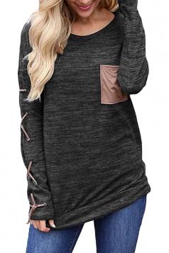 Womens Round Neck Cross Lace Up Long Sleeve Pocket Plain T-Shirt Black