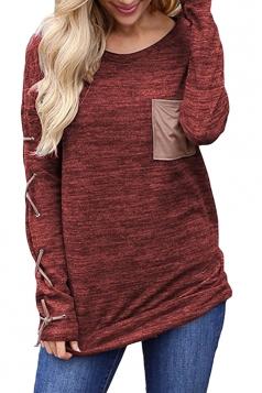 Round Neck Cross Lace Up Long Sleeve Pocket Plain T-Shirt Dark Red