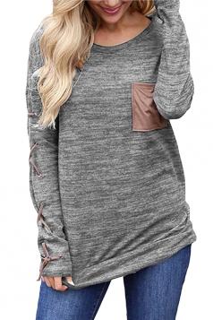 Womens Round Neck Cross Lace Up Long Sleeve Pocket Plain T-Shirt Gray