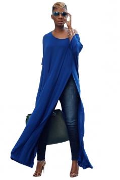 Womens Sexy One Shoulder Long Sleeve High Slit Maxi T-Shirt Blue