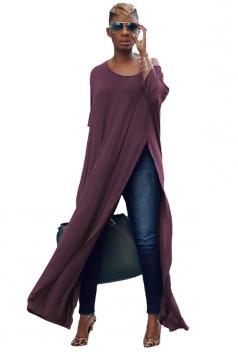 Womens Sexy One Shoulder Long Sleeve High Slit Maxi T-Shirt Purple
