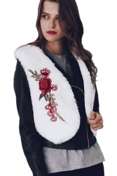 Womens Trendy Short V-Neck Sleeveless Embroidered Faux Fur Vest White