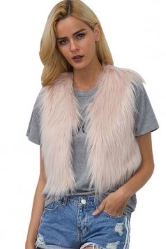 Womens Close-Fitting Sleeveless Faux Fur Short Plain Vest Light Pink