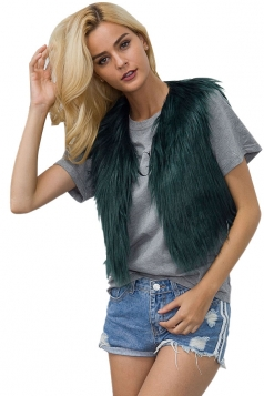 Womens Close-Fitting Sleeveless Faux Fur Short Plain Vest Dark Green