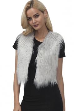 Womens Close-Fitting Sleeveless Faux Fur Short Plain Vest Gray