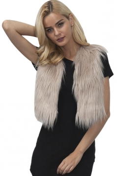 Womens Close-Fitting Sleeveless Faux Fur Short Plain Vest Khaki
