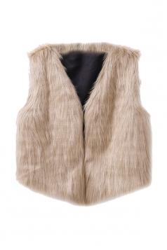 Womens Stylish V-Neck Short Sleeveless Faux Fur Plain Vest Camel