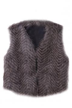 Womens Stylish V-Neck Short Sleeveless Faux Fur Plain Vest Coffee