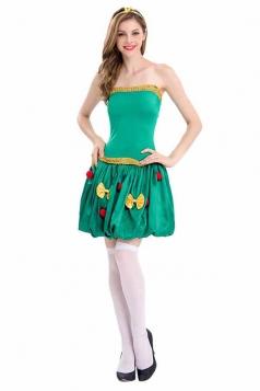 Womens Sexy Off Shoulder Dress Christmas Tree Santa Elf Costume Green