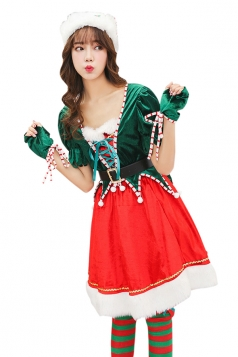 Womens Lace Up Short Sleeve Elf Christmas Dress Santa Help Costume Red