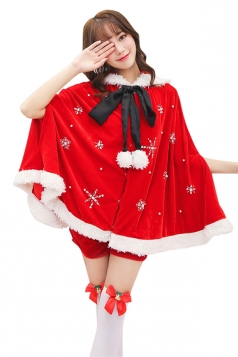 Womens Cute Bowknot Collar Hooded Cloak Santa Christmas Costume Red