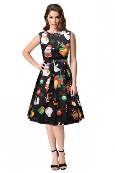 Sleeveless High Waist Christmas Printed Flared A-Line Dress Black