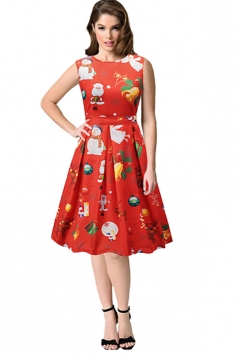 Sleeveless High Waist Christmas Printed Flared A-Line Dress Coral
