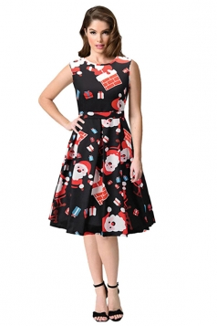 Sleeveless High Waist Christmas Printed Flared A-Line Dress Dull Black